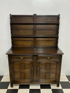 Vintage Priory ercol style dark oak sideboard dresser wall unit cabinet Delivery