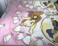 Vintage Disney BEAUTY AND THE BEAST Twin Size Flat sheet USA