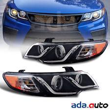 For 2010-2013 Kia Forte Coupe/Sedan [CCFL Halo] LED DRL Black Headlight G2 Set