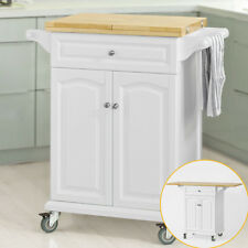 SoBuy Extendable Kitchen Trolley Bar Dining Work Table White Fkw36-wn UK
