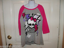 Monster High Gray & Pink 3/4 Sleeve T-shirt  Size Large (10/12) Girl's NEW