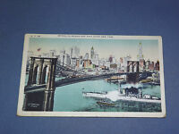 VINTAGE BROOKLYN BRIDGE OVER EAST RIVER    NEW YORK   POSTCARD