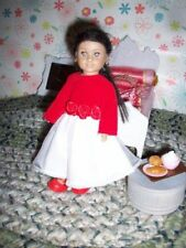 Fit small 6.5 inch Mini Dolls red prom Formal Valentines dress, RED shoes