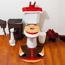 3 Piece Reindeer Bathroom Seat Cover Merry Christmas Mat Carpet Floor Rug