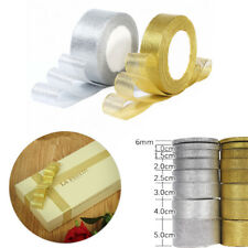 Gold&Silver Sheer Satin Organza Ribbon Craft Bow Wedding Flower Party Decoration