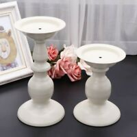 White Metal Carved Church Pillar Candle Holder Candlestick Wedding Home Decor