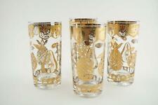 Vintage Barware Tumbler Gold Glasses with Fruits