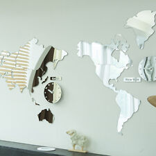 World Map Time Acrylic Mirror Wall Clock Non Ticking Decor Map Silent Movement