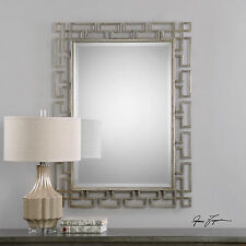 "Agata Xxl 45"" Aged Forged Metal Urban Art Frame Beveled Wall Vanity Mirror"