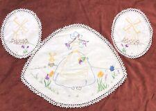 Vintage Dutch Windmill Tulip Hand Embroidered Linen Doilies Doiley Duchess Set