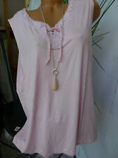 M.Collection Shirt Tunic Ladies Size 42 To 60 Pink with Lace (624)