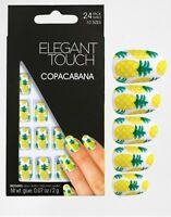ELEGANT TOUCH 24 FULL COVER FALSE NAIL TIP PINEAPPLE COPACABANA NAILS TIPS