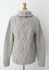 Mango Thick Grey Chunky Knit Roll Neck Jumper Pullover Winter Snuggly Size M