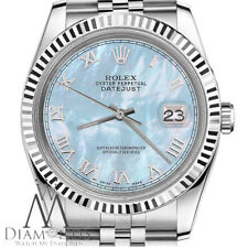Baby Blue Rolex 26mm Datejust MOP Mother Of Pearl Roman Numeral Dial SS Watch