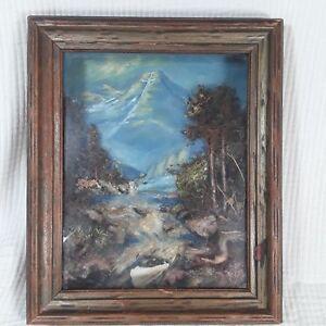 Mount of the Holy Cross Colorado Painting Mixed media Natural Fiber Shadowbox
