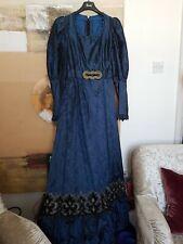 WW1//Edwardian//Workhouse VICTORIAN BLUE COPEN FLORAL Smock Dress Over Apron