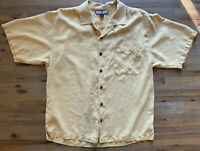 Mens Tommy Bahama Camp Shirt Yellow Button Up 100% Silk Large