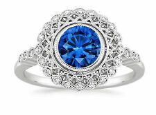 Fine 14K White Gold Blue Sapphire Gemstone Ring Real 1.50 Ct Diamond Size J H.5