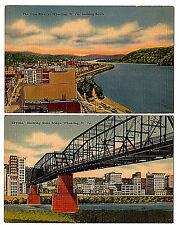 Wheeling West Virginia Lot of 2 Linen Postcards Ohio River Steel Bridge Tichnor