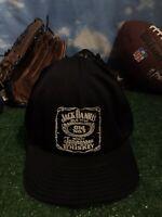 Vtg rare Jack Daniels Tennessee whiskey black adjustable snap back Hat Cap H17