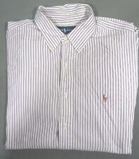 Ralph Lauren Men White Purple Striped Button Down Long Sleeve Shirt 17.5 36/37