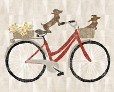 DACHSHUND SHORT SMOOTH HAIRED Retro Art Poster Print Red Bicycle Wicker Basket