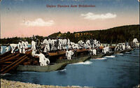 Feldpostkarte 1916 Soldaten Pioniere beim Brückenbau ab Kehl nach Lörrach gel.