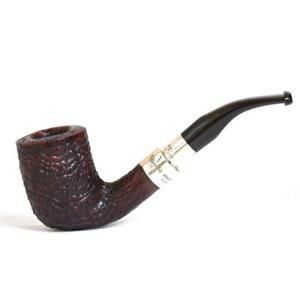 PETERSON SANDBLAST SPIGOT B18 PIPA SMOKING PIPE CURVA SABBIATA ARGENTO SILVER