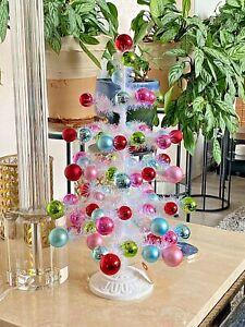 "18.5"" WHITE TINSEL & ORNAMENT TREE PASTEL COLORS CHRISTMAS RAZ 3932732 NEW CuTe!"