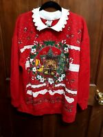Vintage Frilly Cats Nutcracker Plus Ugly Red Christmas Sweater Sweatshirt  sz 1X