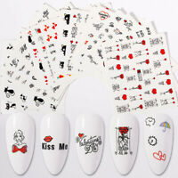 16 Sheets/Set Valentine's Day Nail Water Decals Transfer Nail Art Stickers Tips
