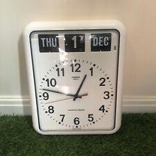 Twemco BQ12 Retro Modern Flip Clock Wall Calendar White - Fully Working
