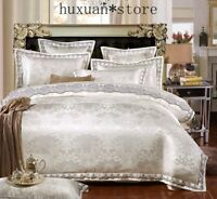 Luxury Bedding Sets Queen King  Lace Cotton Jacquard Bed Set Sheets Duvet Cover