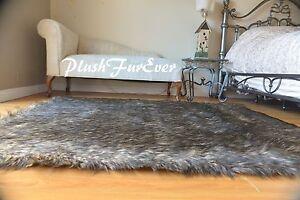 Rectangle Faux Fur Black Tip Wolf Area Rug Cottage Lodge Cabin Decor SCLove Furs