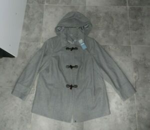 M&S COLLECTION  Wool Blend Grey Marl Hooded Duffle Coat, UK 20, BNWT