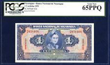 NICARAGUA 1 CORDOBA PICK 91b 1951 PCGS 65 GEM NEW PPQ