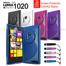 S CURVE GEL TPU CASE COVER FOR NOKIA Lumia EOS 1020 + Screen Protector + Stylus