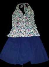 PROFILE by Gottex floral TANKINI halter & navy  swim skirt set Size 8