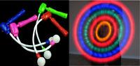 12 Light-Up Spinning Ratchets LED Ball Matracas Flashing Spinners Wands Sticks