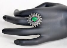 Exotic Vintage 14KT 4.5 CT Colombian Emerald Ruby Diamond Ring, Handmade