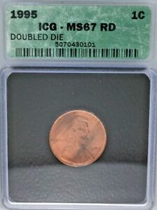 *1995 ICG MS67 RD DOUBLED DIE 1c USA*