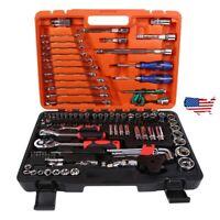 """121 Pcs 1/4"""" 3/8 1/2 Spanner Socket Screwdriver Car Repair Ratchet Wrench Tool"""
