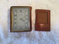 Vintage Sochard Windup Travel Clock in Leather Case WORKING!!!