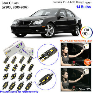 14 Bulbs Deluxe LED Interior Light Kit White For W203 2000-2007 Benz C Class