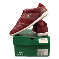 Lacoste Men's Sports Shoes Size Uk 8 Casual Burgundy Lace Up Trainers EUR 42 BOX