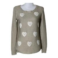 LC Lauren Conrad Womens Sweater Scoop Neck Lace Hearts Metallic Top Tan Size XS