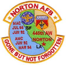 USAF BASE PATCH, NORTON AFB, CALIFORNIA, MAC, AMC, GONE BUT NOT FORGOTTEN.