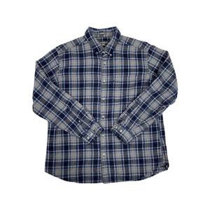 Vintage Eddie Bauer Blue Check Long Sleeve Button Down Thick Flannel Shirt Men L