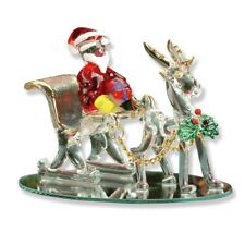 Christmas Xmas Home Table Window Decoration Santa Claus in Sleigh Reindeer Gift