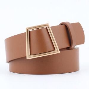 Women's Belt Golden Geometric Trapezoidal Buckle Belts Dress Decor Waistband